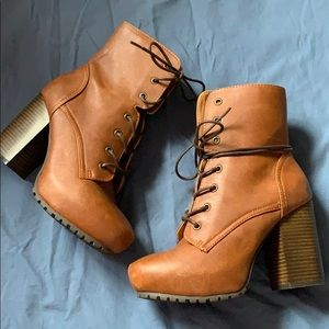 Brown Lace Up Booties